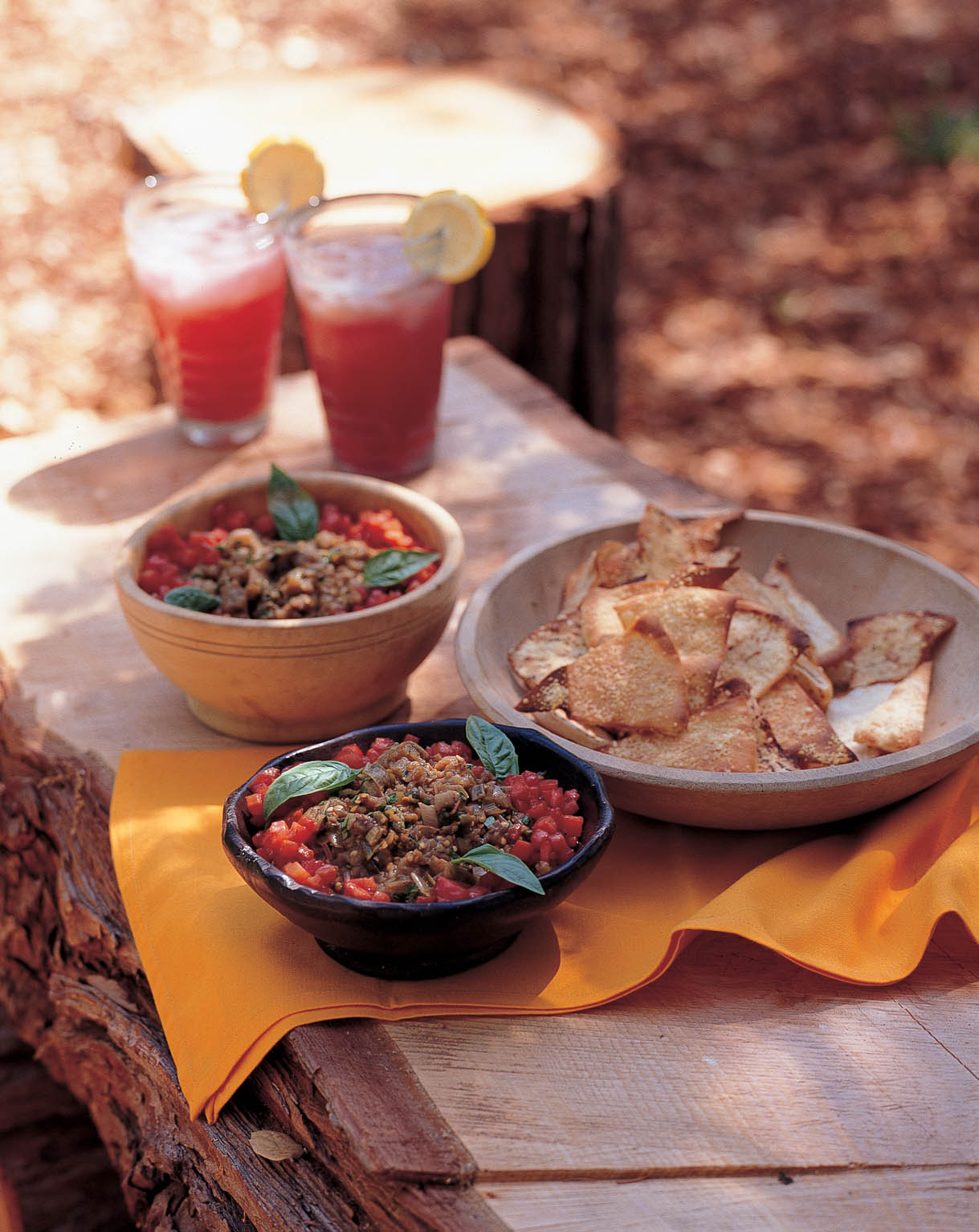 Roasted Eggplant Dip with Tomato Relish and Pita Toasts: A Mediterranean-style Dip for the Fourth of July